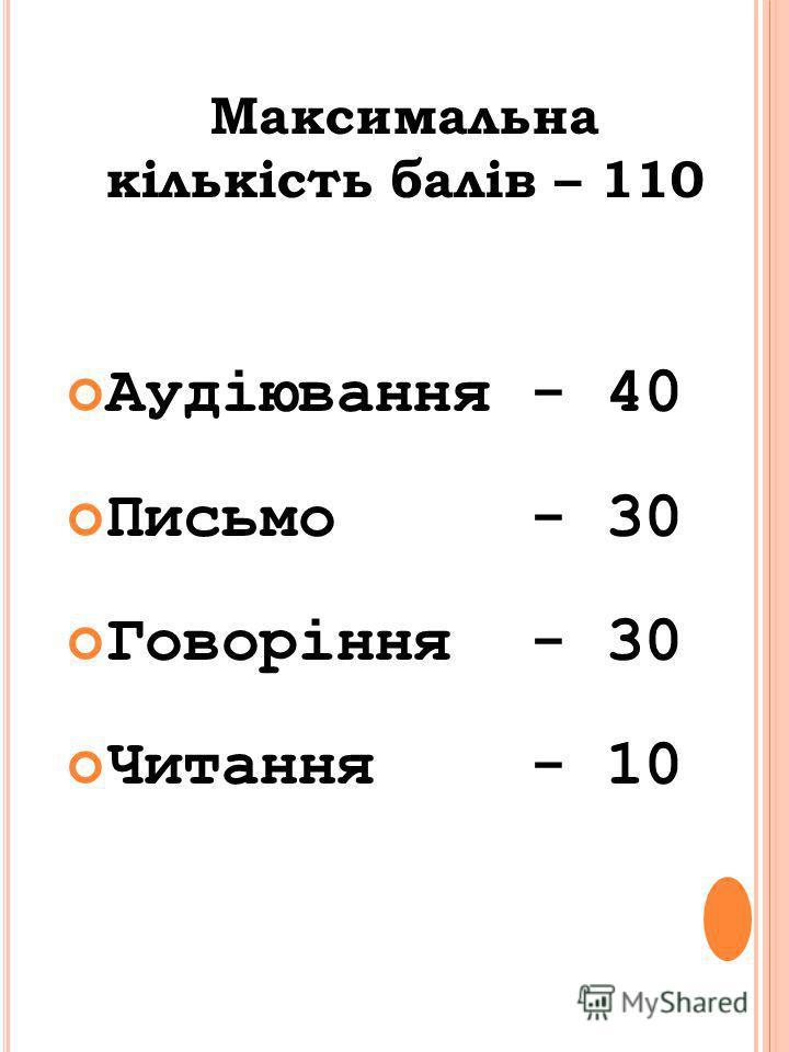 Максимальна кількість балів – 110 Аудіювання - 40 Письмо - 30 Говоріння - 30 Читання - 10