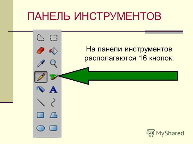 ПАНЕЛЬ ИНСТРУМЕНТОВ На панели инструментов располагаются 16 кнопок.