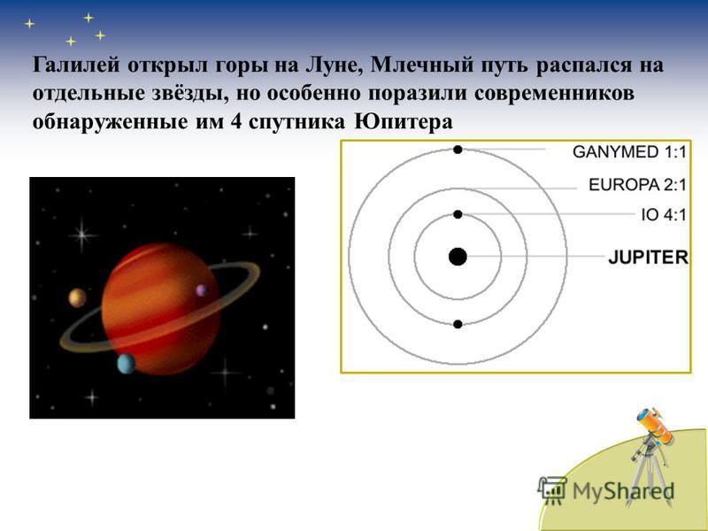 Галилей открыл горы на Луне, Млечный путь распался на отдельные звёзды, но особенно поразили современников обнаруженные им 4 спутника Юпитера