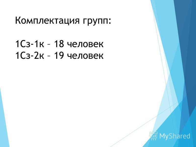 Комплектация групп: 1Сз-1 к – 18 человек 1Сз-2 к – 19 человек