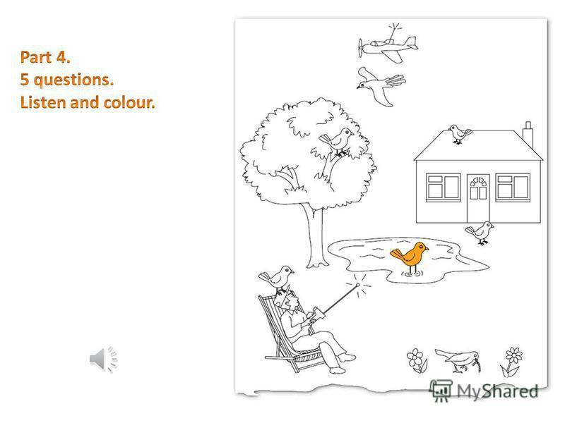 В четвёртой части есть большая картинка, на которой можно найти один и тот же объект, нарисованный в 7 различных вариантах (7 мячей, книг или птиц). Слушая диалог между взрослым и ребёнком, нужно закрасить каждый названный объект определённым цветом.