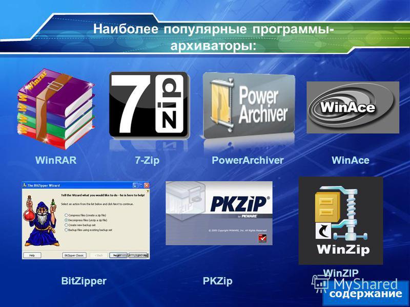 Наиболее популярные программы- архиваторы: WinRAR 7-ZipPowerArchiver WinAce BitZipperPKZip WinZIP содержание