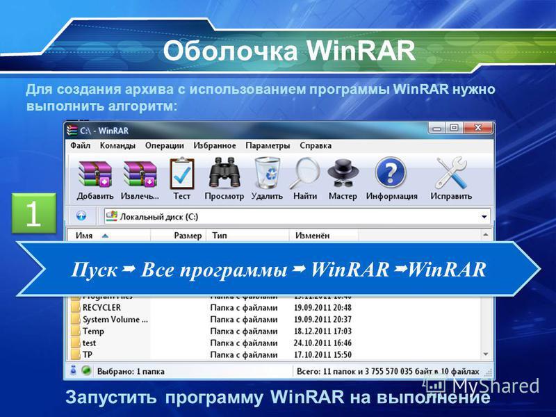 Оболочка WinRAR Для создания архива с использованием программы WinRAR нужно выполнить алгоритм: Запустить программу WinRAR на выполнение 1 1 Пуск Все программы WinRAR WinRAR
