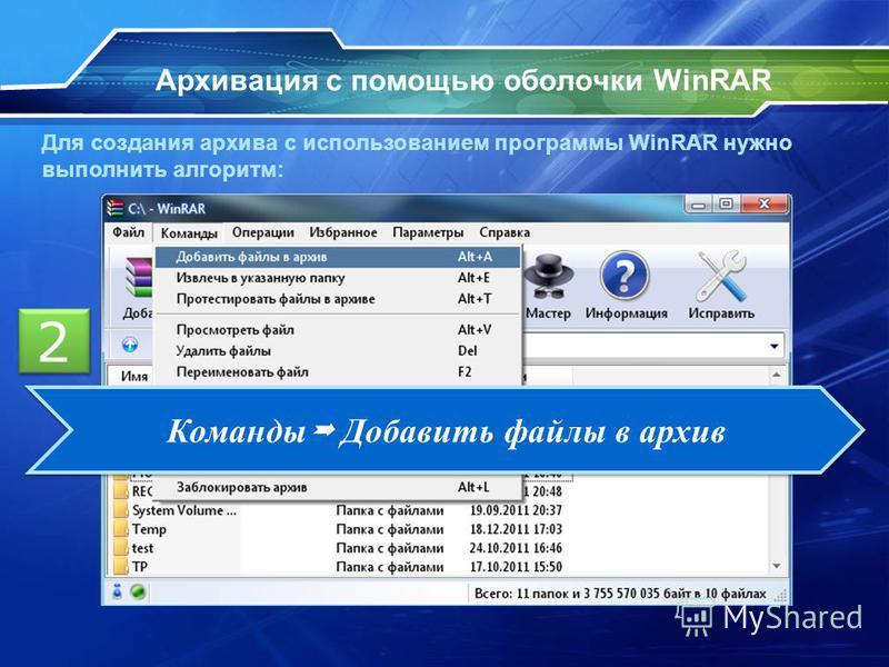 Архивация с помощью оболочки WinRAR Для создания архива с использованием программы WinRAR нужно выполнить алгоритм: 2 2 Команды Добавить файлы в архив
