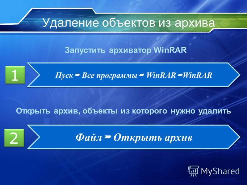Удаление объектов из архива 1 1 Пуск Все программы WinRAR WinRAR Запустить архиватор WinRAR Открыть архив, объекты из которого нужно удалить 2 2 Файл Открыть архив