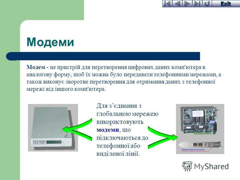 Exit Модеми Модем - це пристрій для перетворення цифрових даних комп'ютера в аналогову форму, щоб їх можна було передавати телефонними мережами, а також виконує зворотне перетворення для отримання даних з телефонної мережі від іншого комп'ютера. Для