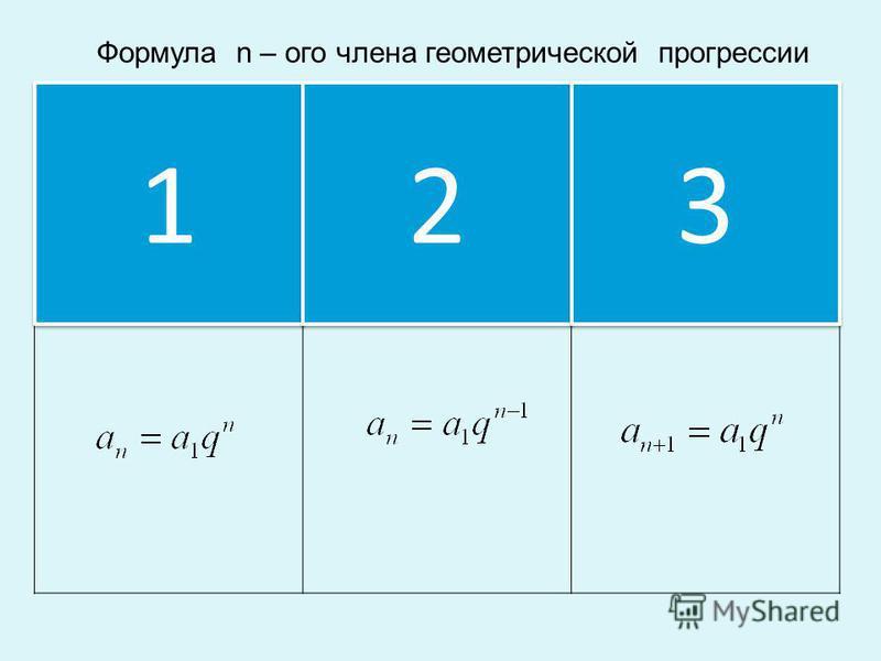 Формула n – ого члена геометрической прогрессии 1 1 2 2 3 3