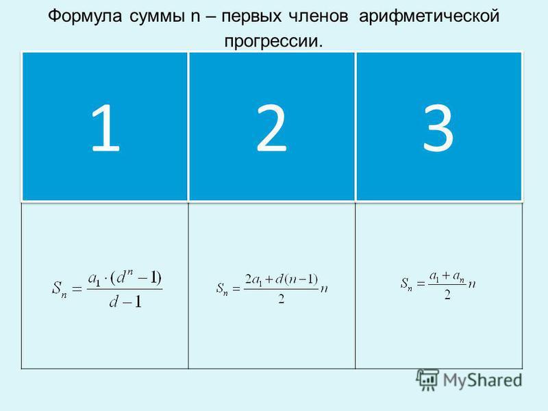 Формула суммы n – первых членов арифметической прогрессии. 1 1 2 2 3 3