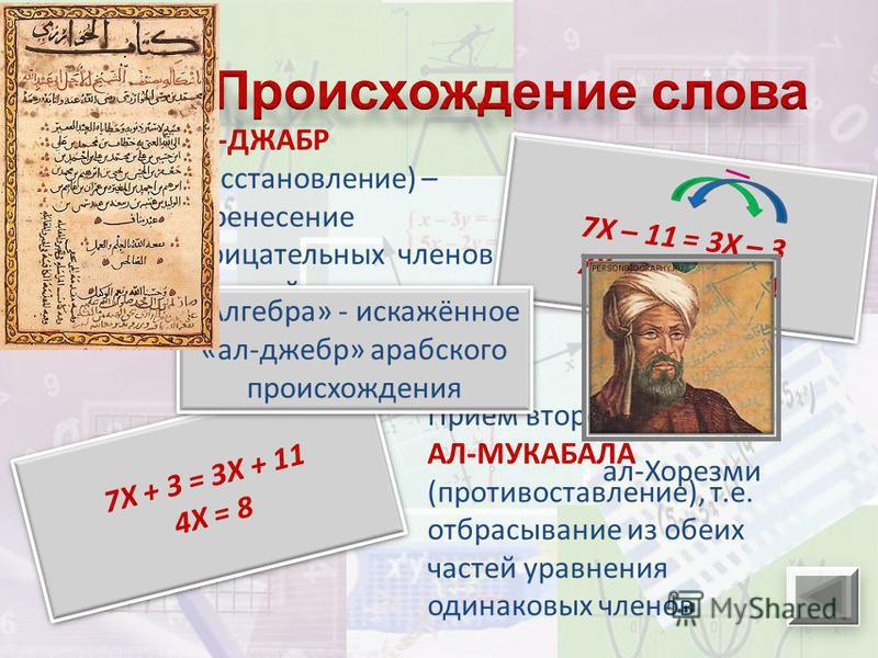 АЛ-ДЖАБР (восстановление) – перенесение отрицательных членов из одной части уравнения в другую 7Х + 3 = 3Х + 11 4Х = 8 7Х + 3 = 3Х + 11 4Х = 8 Приём второй – АЛ-МУКАБАЛА (противопоставление), т.е. отбрасывание из обеих частей уравнения одинаковых чле