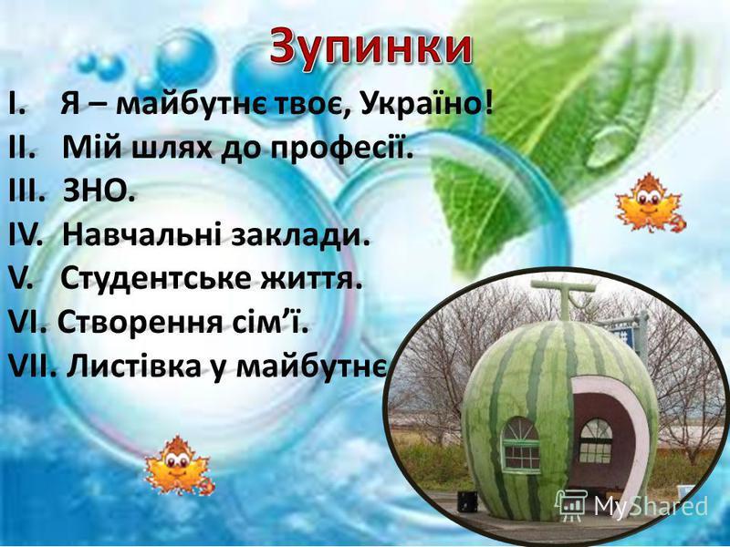 І. Я – майбутнє твоє, Україно! ІІ. Мій шлях до професії. ІІІ. ЗНО. ІV. Навчальні заклади. V. Студентське життя. VІ. Створення сімї. VІІ. Листівка у майбутнє.