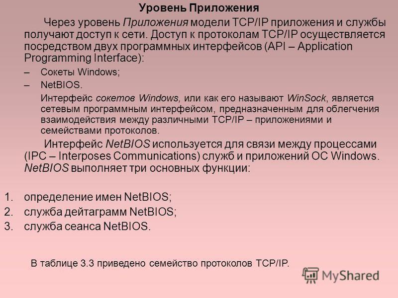 Уровень Приложения Через уровень Приложения модели TCP/IP приложения и службы получают доступ к сети. Доступ к протоколам TCP/IP осуществляется посредством двух программных интерфейсов (API – Application Programming Interface): –Сокеты Windows; –NetB