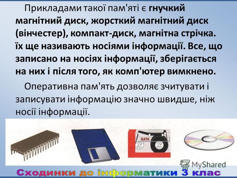 Прикладами такої пам'яті є гнучкий магнітний диск, жорсткий магнітний диск (вінчестер), компакт-диск, магнітна стрічка. їх ще називають носіями інформації. Все, що записано на носіях інформації, зберігається на них і після того, як комп'ютер вимкнено