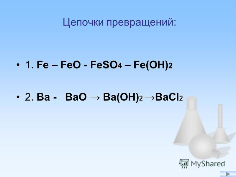 Цепочки превращений: 1. Fe – FeO - FeSO 4 – Fe(OH) 2 2. Ba - BaO Ba(OH) 2 BaCl 2