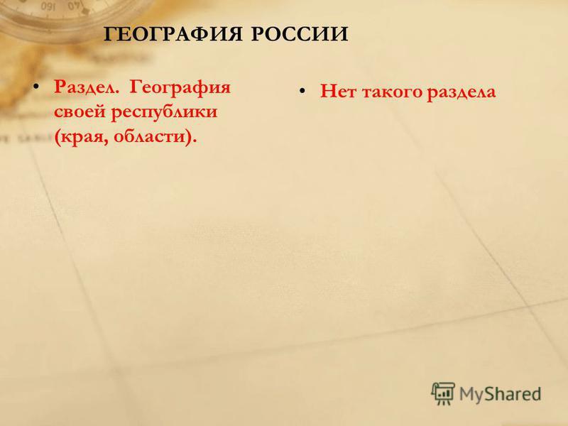 ГЕОГРАФИЯ РОССИИ Раздел. География своей республики (края, области). Нет такого раздела