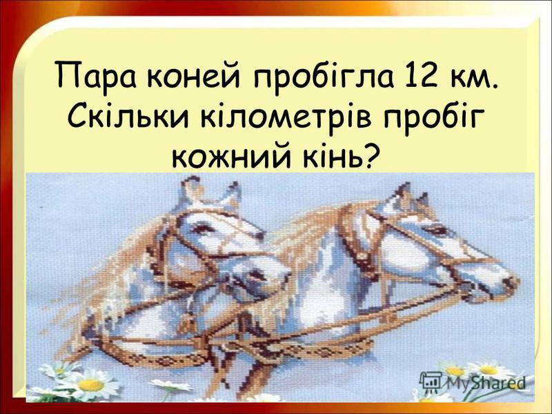 Пара коней пробігла 12 км. Скільки кілометрів пробіг кожний кінь?