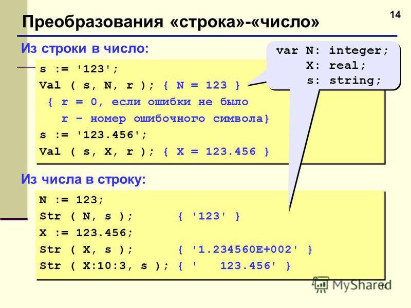14 Преобразования «строка»-«число» Из строки в число: s := '123'; Val ( s, N, r ); { N = 123 } { r = 0, если ошибки не было r – номер ошибочного символа} s := '123.456'; Val ( s, X, r ); { X = 123.456 } s := '123'; Val ( s, N, r ); { N = 123 } { r =