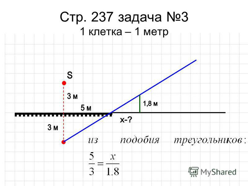 Стр. 237 задача 3 1 клетка – 1 метр