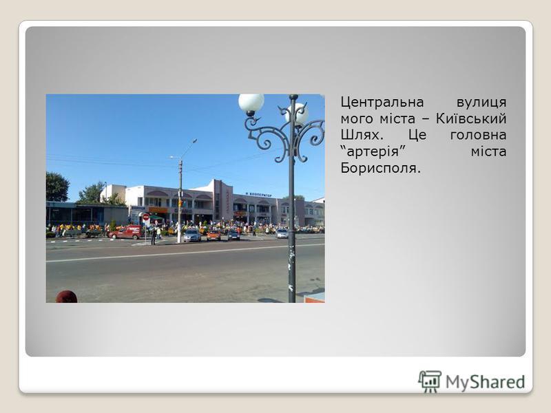 Центральна вулиця мого міста – Київський Шлях. Це головна артерія міста Борисполя.