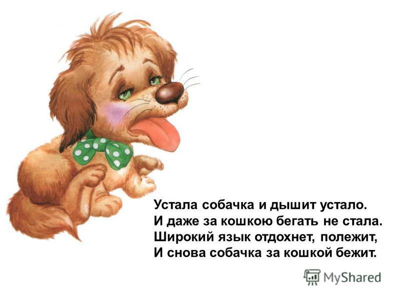 Устала собачка и дышит устало. И даже за кошкою бегать не стала. Широкий язык отдохнет, полежит, И снова собачка за кошкой бежит.