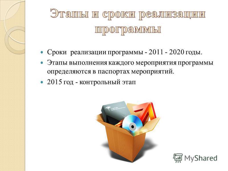 Сроки реализации программы - 2011 - 2020 годы. Этапы выполнения каждого мероприятия программы определяются в паспортах мероприятий. 2015 год - контрольный этап