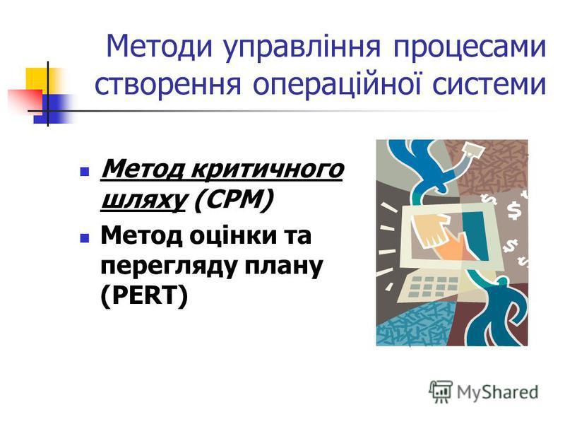 Методи управління процесами створення операційної системи Метод критичного шляху (CPM) Метод оцінки та перегляду плану (PERT)