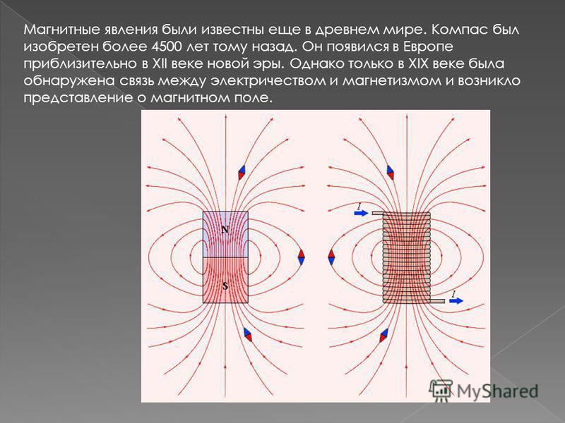 Магнитные явления были известны еще в древнем мире. Компас был изобретен более 4500 лет тому назад. Он появился в Европе приблизительно в XII веке новой эры. Однако только в XIX веке была обнаружена связь между электричеством и магнетизмом и возникло