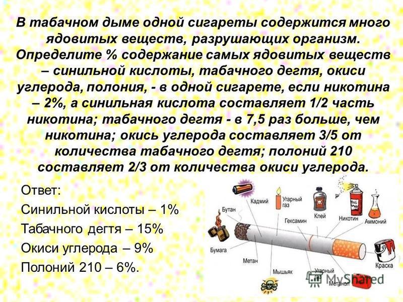 В табачном дыме одной сигареты содержится много ядовитых веществ, разрушающих организм. Определите % содержание самых ядовитых веществ – синильной кислоты, табачного дегтя, окиси углерода, полония, - в одной сигарете, если никотина – 2%, а синильная