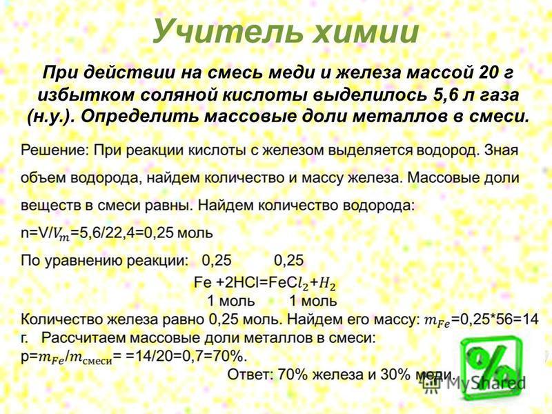 При действии на смесь меди и железа массой 20 г избытком соляной кислоты выделилось 5,6 л газа (н.у.). Определить массовые доли металлов в смеси. Учитель химии