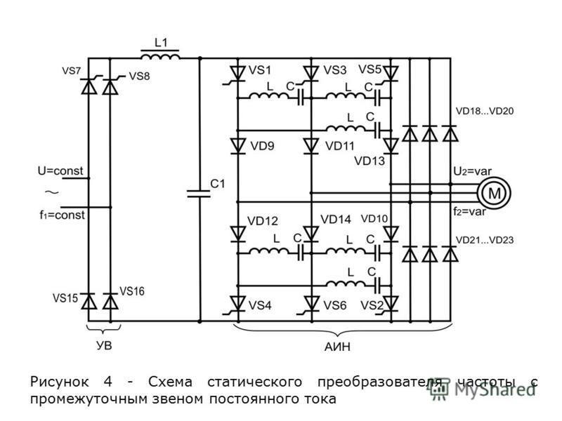 Рисунок 4 - Схема статического преобразователя частоты с промежуточным звеном постоянного тока