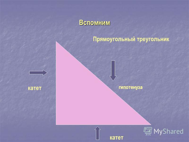 Вспомним катет гипотенуза Прямоугольный треугольник