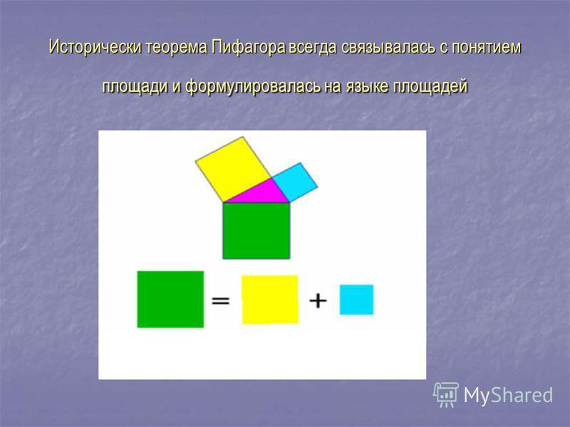 Исторически теорема Пифагора всегда связывалась с понятием площади и формулировалась на языке площадей