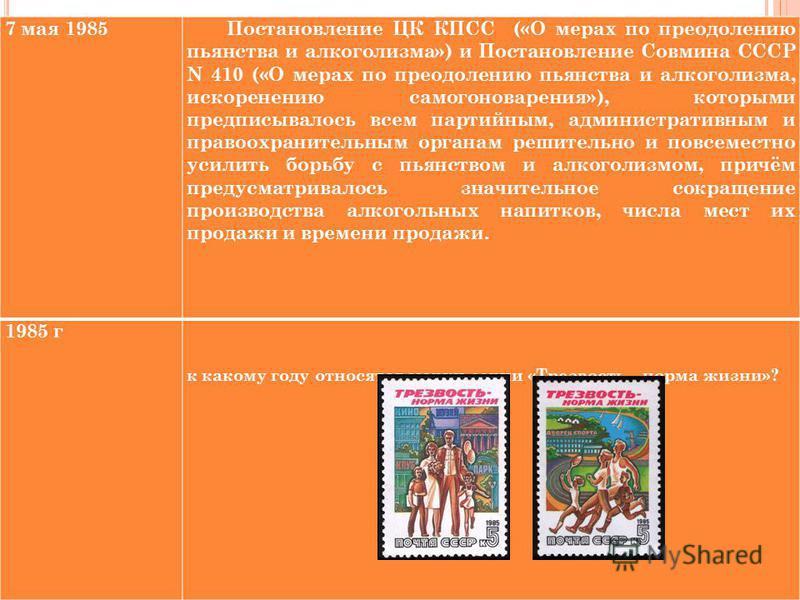 7 мая 1985Постановление ЦК КПСС («О мерах по преодолению пьянства и лакоголизма») и Постановление Совмина СССР N 410 («О мерах по преодолению пьянства и лакоголизма, искоренению самогоноварения»), которыми предписывалось всем партийным, административ