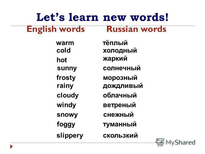 Lets learn new words! English wordsRussian words warm тёплый coldхолодный hot жаркий sunnyсолнечный rainyдождливый frostyморозный облачный туманный скользкий ветреный снежный cloudy foggy slippery windy snowy