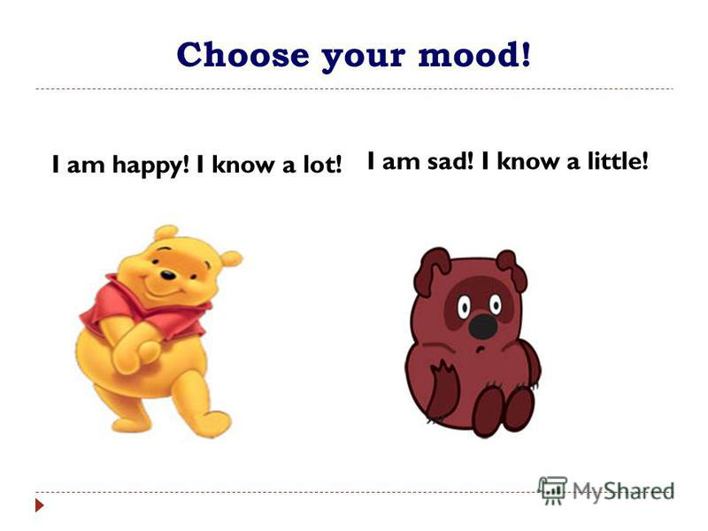 Choose your mood! I am happy! I know a lot! I am sad. I know a little. I am sad! I know a little!