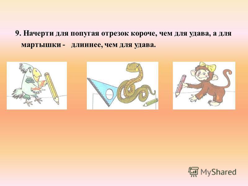 9. Начерти для попугая отрезок короче, чем для удава, а для мартышки - длиннее, чем для удава.