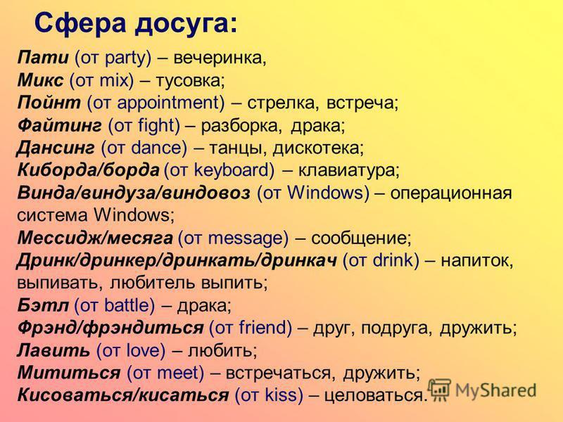 Сфера досуга: Пати (от party) – вечеринка, Микс (от mix) – тусовка; Пойнт (от appointment) – стрелка, встреча; Файтинг (от fight) – разборка, драка; Дансинг (от dance) – танцы, дискотека; Киборда/борда (от keyboard) – клавиатура; Винда/виндуза/виндов