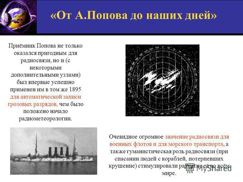«От А.Попова до наших дней» Приёмник Попова не только оказался пригодным для радиосвязи, но и (с некоторыми дополнительными узлами) был впервые успешно применен им в том же 1895 для автоматической записи грозовых разрядов, чем было положено начало ра