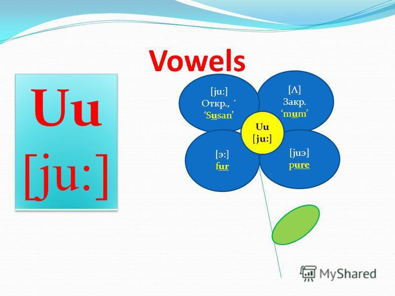 [Λ] Закр. mum [ju:] Откр., ´ Susan Vowels [э:] fur [juэ] pure Uu [ju:]