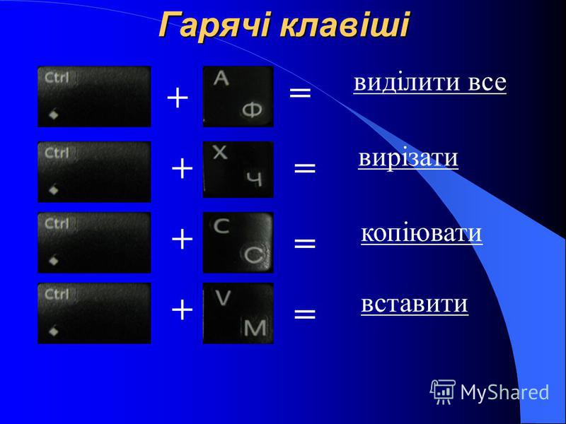 Гарячі клавіші + виділити все = + + += = = вирізати копіювати вставити