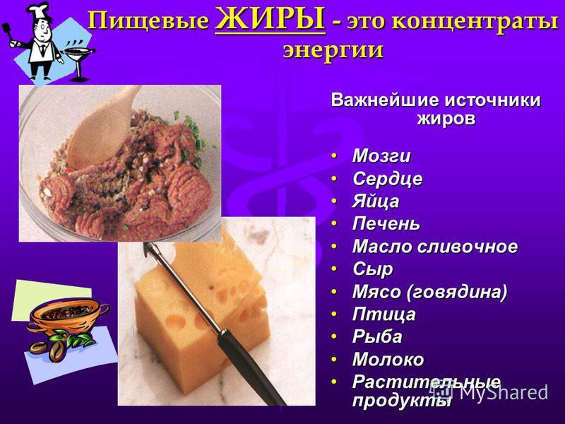 Пищевые ЖИРЫ - это концентраты энергии Важнейшие источники жиров Мозги Мозги Сердце Сердце Яйца Яйца Печень Печень Масло сливочное Масло сливочное Сыр Сыр Мясо (говядина)Мясо (говядина) Птица Птица Рыба Рыба Молоко Молоко Растительные продукты Растит