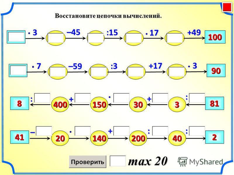 Восстановите цепочки вычислений. max 20 –59 100 +49:1517–45 +17 90 :33 7 3– 400 : + 815030381 2041140200402 + : : +: