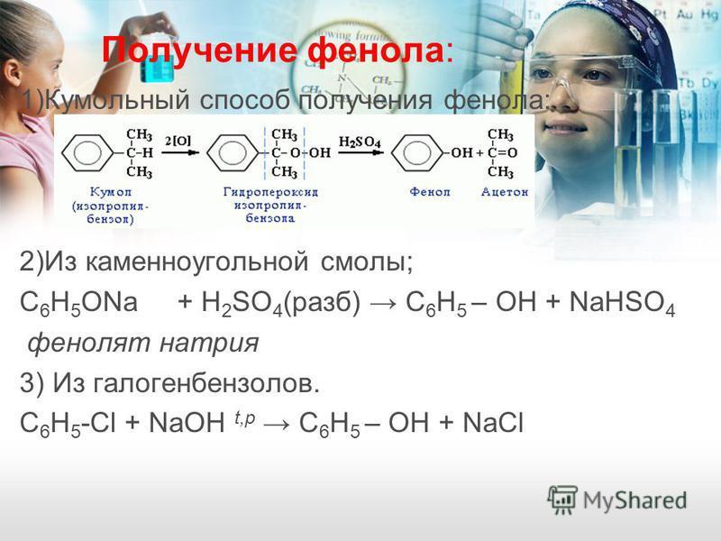 Получение фенола: 1)Кумольный способ получения фенола: 2)Из каменноугольной смолы; C 6 H 5 ONa + H 2 SO 4 (разб) С 6 H 5 – OH + NaHSO 4 фенолят натрия 3) Из галогенбензолов. С 6 H 5 -Cl + NaOH t,p С 6 H 5 – OH + NaCl