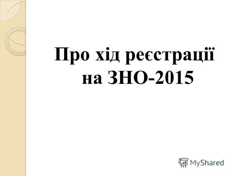 Про хід реєстрації на ЗНО-2015