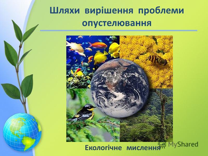 Екологічне мислення Шляхи вирішення проблеми опустелювання
