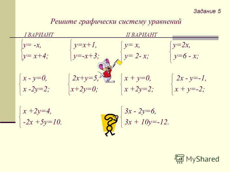 Решите графически систему уравнений I ВАРИАНТ y= -x, y=x+1, y= x+4; y=-x+3; x - y=0, 2x+y=5, x -2y=2; x+2y=0; x +2y=4, -2x +5y=10. II ВАРИАНТ y= x, y=2x, y= 2- x; y=6 - x; x + y=0, 2x - y=-1, x +2y=2; x + y=-2; 3x - 2y=6, 3x + 10y=-12. Задание 5