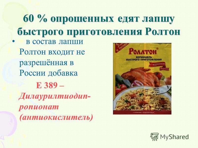 60 % опрошенных едят лапшу быстрого приготовления Ролтон в состав лапши Ролтон входит не разрешённая в России добавка Е 389 – Дилаурилтиодип- пропионат (антиокислитель)