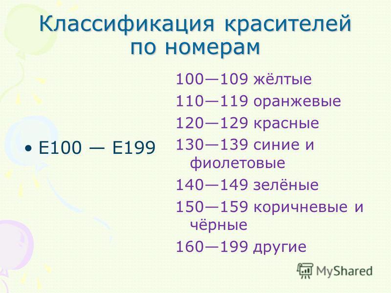 Классификация красителей по номерам E100 E199 100109 жёлтые 110119 оранжевые 120129 красные 130139 синие и фиолетовые 140149 зелёные 150159 коричневые и чёрные 160199 другие