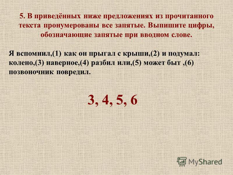 5. В приведённых ниже предложениях из прочитанного текста пронумерованы все запятые. Выпишите цифры, обозначающие запятые при вводном слове. Я вспомнил,(1) как он прыгал с крыши,(2) и подумал: колено,(3) наверное,(4) разбил или,(5) может быт,(6) позв