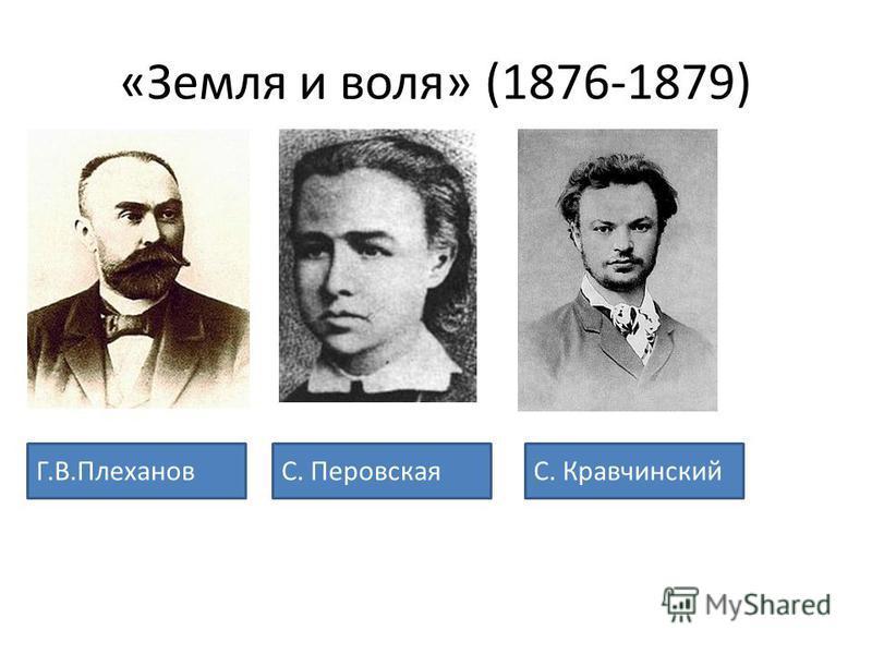 «Земля и воля» (1876-1879) Г.В.ПлехановС. ПеровскаяС. Кравчинский