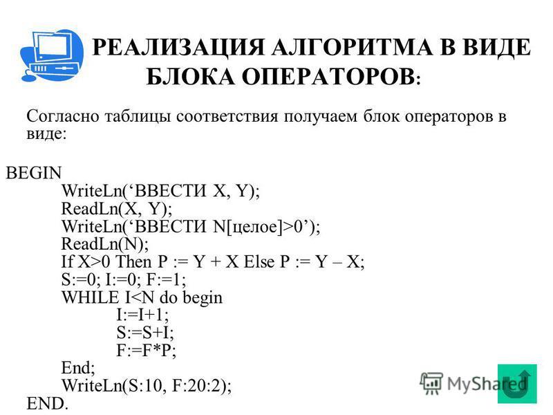 РЕАЛИЗАЦИЯ АЛГОРИТМА В ВИДЕ БЛОКА ОПЕРАТОРОВ : Согласно таблицы соответствия получаем блок операторов в виде: BEGIN WriteLn(ВВЕСТИ X, Y); ReadLn(X, Y); WriteLn(ВВЕСТИ N[целое]>0); ReadLn(N); If X>0 Then P := Y + X Else P := Y – X; S:=0; I:=0; F:=1; W
